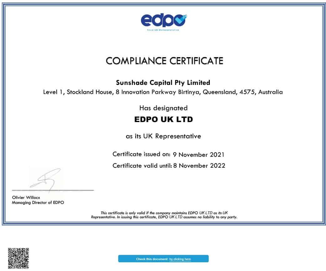 sunshade_capital_pty_limited_compliance_uk_representative_compliance_certificate